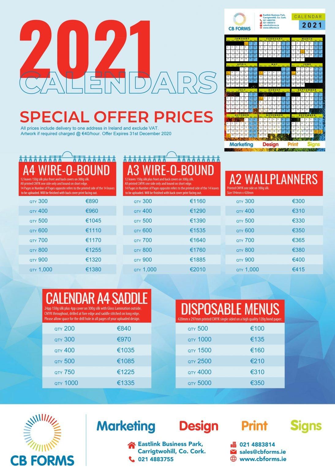 2021 Calendar Prices